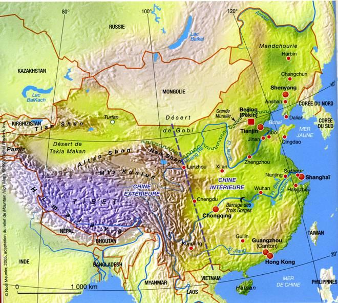 Carte Chine Frontiere.1 Introduction A La Geographie Du Mobde Chinois